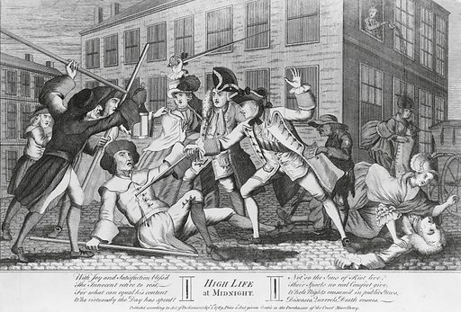 High life at midnight. Print shows a street scene: five upper class men and women returning home after an evening of entertainment are attacked by a group of lower class men armed with staffs intent on robbery. One of the well dressed men has received a blow to the head and has fallen to the ground where he is attended to by one of the women. One of the rogues is stabbed in the chest with a sword by another of the well dressed men; during this commotion a pickpocket calmly helps himself to the contents of the man