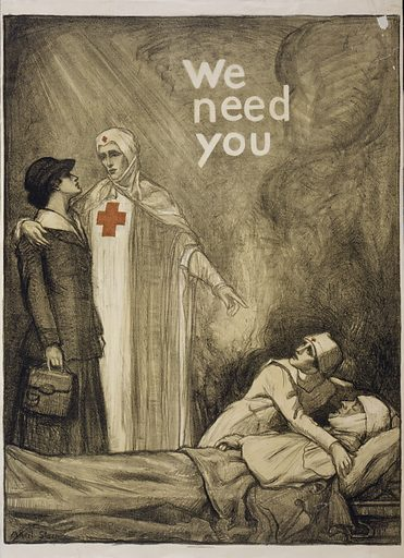 We need you. Poster showing a Red Cross nurse appealing to a young woman for help, as another nurse tends to a wounded man. Date 1918.