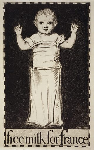 Free milk for France. Poster showing an infant. Date 1917.