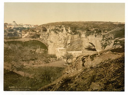 Jeremiah's grotto, Jerusalem, Holy Land, (ie Israel). Date between ca 1890 and ca 1900.