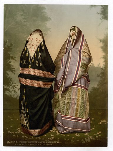 Mahomedan women in town costume, Holy Land. Date between ca 1890 and ca 1900.