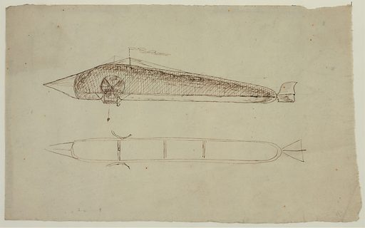 Two views of an airship shaped like a long tube with a pointed nose, propellers on the side and a rudder, resembling an 1850 design proposed by Pierre Jullien, a French clock maker from Villejuif, France. Date 1850?.
