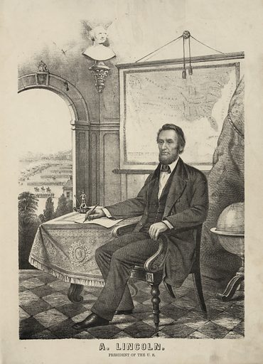 A Lincoln, President of the US Date between 1862 and 1864.