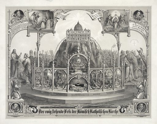 The eternal standing rock of the Roman Catholic Church. This allegorical print, intended for an American Catholic audience, illustrates the official church response to the First Vatican Council of 1869–70, which decreed that the Pope is infallible. In the center of the image, St Peter