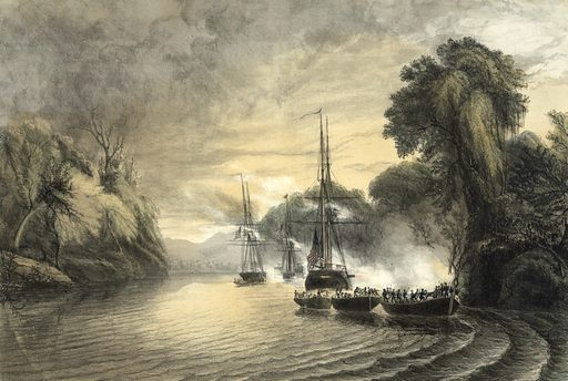 The attack of the Mexicans from the chapperal, on the first division of the naval expedition to Tabasco, Mexico.