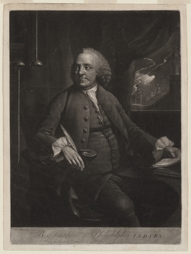 B Franklin of Philadelphia LLD. FRS. Print shows Benjamin Franklin, three-quarter length portrait, seated at desk, looking to his right at an electrical device, in his left hand are papers upon which he is taking notes, and visible through a window to his left is lightning striking a building. Date between 1763 and 1785.