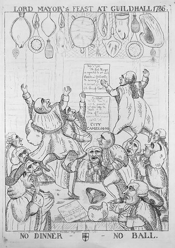 """Lord mayor's feast at Guildhall 1786 – no dinner, no ball. Print shows a large group of city officials gathered around a table in Guildhall, some are jumping up and down on the table and have lost their hats and wigs. Posted on the wall are two notices: (1) """"Nov. 1st 1786. The Lord Mayor is requested to set aside Parade and Festivity the ensuing 9th Nov. on account of the death of the Princess Amelia"""" and (2) """"Guildhall. This day Nov'r the 9 will be presented, not acted since the death of the Duke of Cumberland, a serious Entertainment called The City Camelions."""" The behaviour of the city officials suggests that they are not pleased that there will be """"no dinner – no ball"""" on Nov. 9th Date 1786 Nov. 6th."""