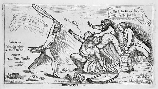 """Dispatch. Print shows a man, holding a large club labeled """"Procrastination"""" over his head, saying """"I hate delay""""; he is about to strike Father Time who cries """"Murder, Murder."""" Father Time's hourglass and scythe are already broken, as two members of the House of Lords come to his defense. On the left is written: """"Question.. What has passed in the House? Answer.. Above three months."""" A pun on killing time with procrastination. Date 1789 Feb. 6."""