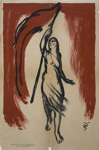 Woman carrying a red flag. Poster has no text. Possibly relates to the first general election after the end of World War I Date 1918.