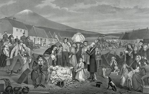 """The eviction: a scene from life in Ireland. Print shows clusters of tenants with their belongings after being forcibly evicted from their homes on land largely owned by British absentee landlords. With """"verses written expressly for this picture, by Mrs O'Donovan-Rossa."""". Date c1871."""