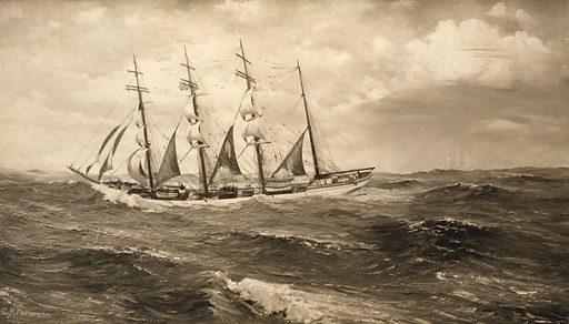 """John Ena"". Reproduction of painting showing ship ""John Ena"" at sea. Date c1913 April 28."