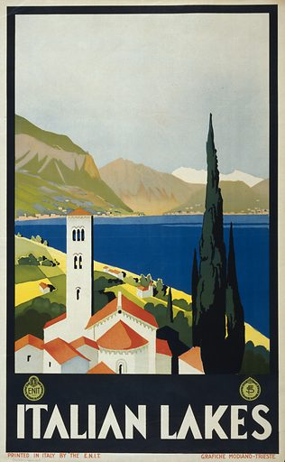 Italian lakes. Poster showing a lake and mountains, with the bell tower of a church in the foreground. Date ca 1930.