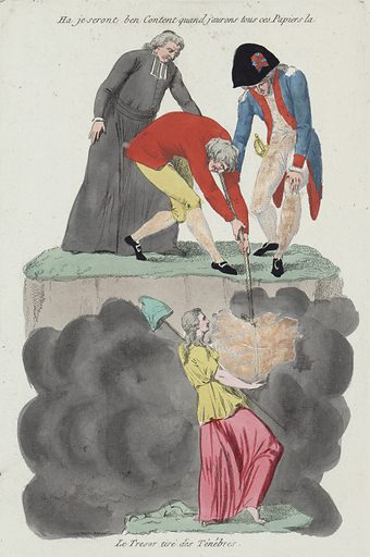 """Ha je seront ben content quand j'aurons tous ces papiers la – le tresor tiré des ténébres. Print shows a cleric, an aristocrat, and a member of the Third Estate who is pulling on a rope tied to a bundle of papers including the """"Nouvelle Constitution"""" and """"Vœux de la Nation"""" which are held aloft by a female figure, representing liberty, above a cloud in the depths of darkness. Date 1791."""
