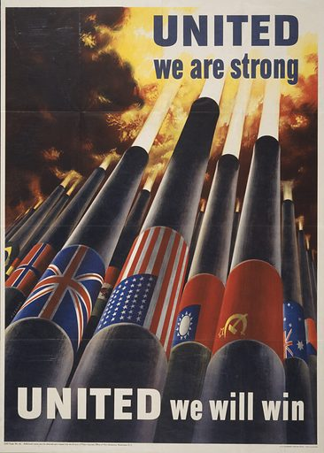 United we are strong, united we can win. World War II poster showing cannons, each with the flag of an allied power, blasting into the sky. Date 1943 (#e Washington, DC:.