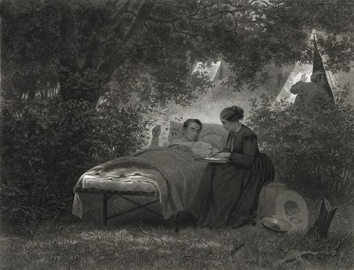 Our women warriors. Print showing a woman writing a letter for an invalid soldier resting on a bed placed beneath trees with tents in the background. Date c1870.