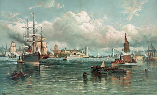 New York Harbour with Brooklyn Bridge. Print showing view of New York Harbor with the Brooklyn Bridge in the background. Date 1887.