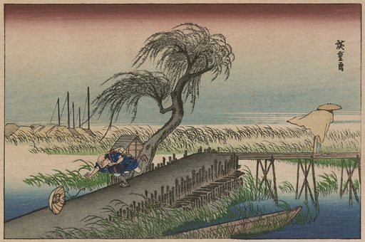 Fūkeiga. Print shows a person chasing a hat during a wind storm