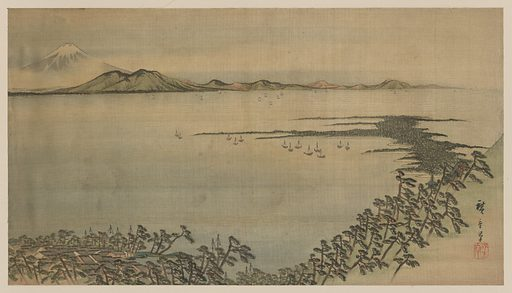 Fūkeiga. Painting shows a bird's-eye view of bay and village among pine trees, with ships anchored offshore and a view of Mount Fuji in the distance. Date between 1890 and 1905.