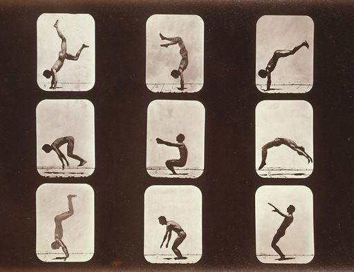 """Athletes. Flip flap. Photograph shows nine consecutive images of a man doing a """"flip flap"""" or a back hand spring. Date c1881."""