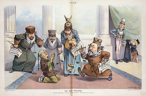 """Too many Shylocks. Illustration shows the emperors of Russia, Japan, and Germany, and the king of Great Britain, each holding a balance scale and all but """"Japan"""" holding a paper that states their country's """"claim for indemnity"""" and confronting a kneeling, shocked Chinese man labeled """"China."""" In the background, on the right, Puck is handing a cap and gown to Uncle Sam, suggesting that he play the role of """"Portia"""" and outwit the """"Shylocks."""". Date 1901 March 27."""