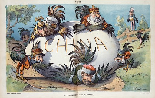 """A troublesome egg to hatch. Illustration shows the rulers of """"Russia,"""" """"Germany,"""" """"Italy,"""" """"Austria,"""" """"France,"""" and """"England,"""" as chickens trying to hatch a large egg labeled """"China."""" A chicken labeled """"Japan"""" stands in the background with Uncle Sam, also as a chicken, perched on a fence in the rear. Date 1901 April 6."""