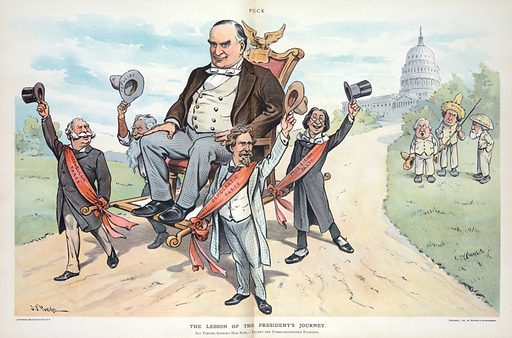 """The lesson of the President's journey. Illustration shows representatives of the """"Democratic, Republican, Populist, and Prohibition"""" parties carrying a larger-than-life-sized President McKinley on a sedan chair, and waving their hats as a show of support for McKinley's policies, behind them, on the right, are standing William Jennings """"Bryan,"""" George F """"Hoar,"""" and Edward """"Atkinson"""" dressed like Filipinos. In the background is the US Capitol building. Date 1901 May 29."""