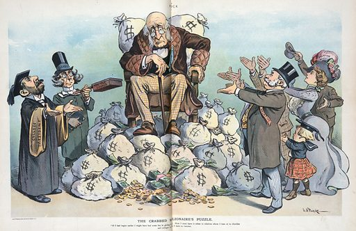 """The crabbed millionaire's puzzle. Illustration shows an old man labeled """"Millionaire"""" sitting in a chair atop a pile of moneybags, bemoaning the fact that he now has little time to give away his money in a satisfactory manner; on the left are the church and the university looking for contributions and on the right are the hated """"Relatives"""" looking to inherit new found wealth. Date 1901 August 7."""