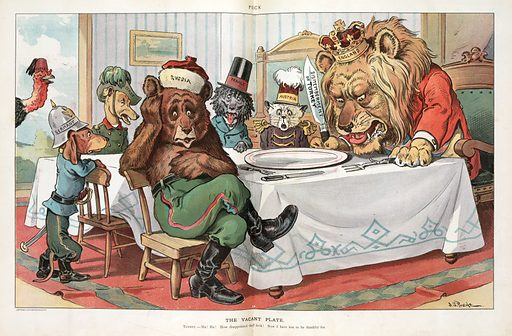"""The vacant plate. Illustration shows the British Lion, the Russian Bear, a cat labeled Austria, and three dogs labeled """"France, Italy, and Germany"""" gathered around a table for Thanksgiving dinner. The British Lion is holding a large knife labeled """"Dismemberment of Turkey"""", but the platter is empty. Looking in from the left is a turkey wearing a fez labeled """"Turkey"""". Date 1903 November 25."""