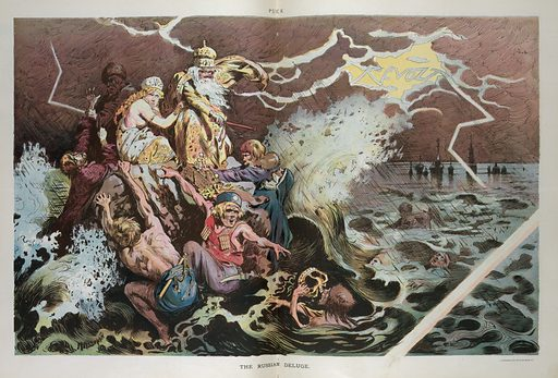 "The Russian deluge. Illustration shows people clinging to a large rock in a stormy sea, some are royalty and some are terrorists; in a flash of lightning in the background appears the word ""Revolt"". Date 1905 November 29."