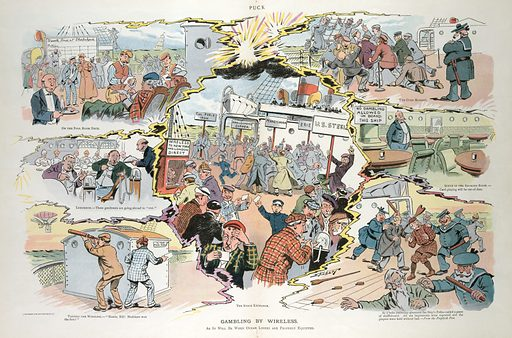 Gambling by wireless. Illustration shows a vignette cartoon of scenes about the activities of stock exchanges and gambling on sporting events on ocean liners once they are equipped for wireless transmission. Date 1906 June 20.