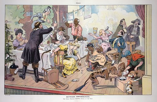 """Between performances. Illustration shows a scene on a stage with a large table and many actors and actresses engaged in various activities; on the far left is a Christmas tree with decorations based on the characters from the Harriet Beecher Stowe novel Uncle Tom's Cabin, at top is an angel labeled """"Haley"""", and moving down the tree is a playing card spade labeled """"Marks"""", a black doll labeled """"Simon Legree"""", a champagne bottle labeled """"Mrs Ophelia"""", a bottle of """"face powder"""" labeled """"Topsey"""", a dog labeled """"Eliza"""", and at the bottom, a whip labeled """"Uncle Tom"""". On the floor next to the tree is a jug labeled """"Eagle Hotel Main Street"""". Date 1907 December 4."""