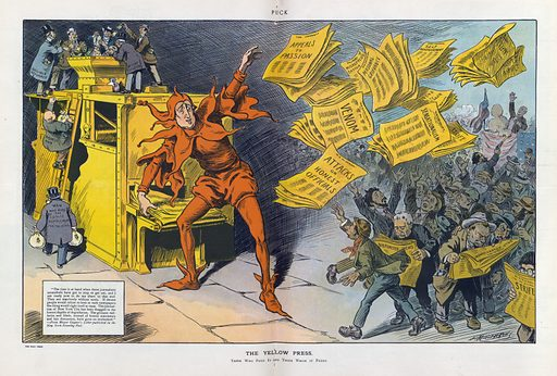 """The yellow press. Illustration shows William Randolph Hearst as a jester tossing newspapers with headlines such as """"Appeals to Passion, Venom, Sensationalism, Attacks on Honest Officials, Strife, Distorted News, Personal Grievance, and Misrepresentation"""" to a crowd of eager readers, among them an anarchist assassinating a politician speaking from a platform draped with American flags; on the left, men labeled """"Man who buys the comic supplement for the kids, Businessman, Gullible Reformer, Advertiser, and Decent Citizen"""" carry bags of money that they dump into Hearst's printing press. Includes note: """"The time is at hand when these journalistic scoundrels have got to stop or get out, and I am ready now to do my share to that end. They are absolutely without souls. If decent people would refuse to look at such newspapers the whole thing would right itself at once. The journalism of New York City has been dragged to the lowest depths of degradation. The grossest railleries and libels, instead of honest statements and fair discussion, have gone unchecked."""" – From Mayor Gaynor's letter published in the New York Evening Post. Date 1910 October 12."""