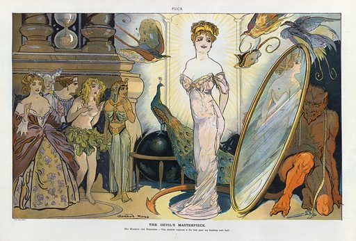 The devil's masterpiece. Illustration shows a woman, standing in front of a mirror, wearing a tight dress designed by the Devil, who crouches behind the mirror; other women, wearing revealing costumes from different eras, stand on the left. Date 1910 November 30.