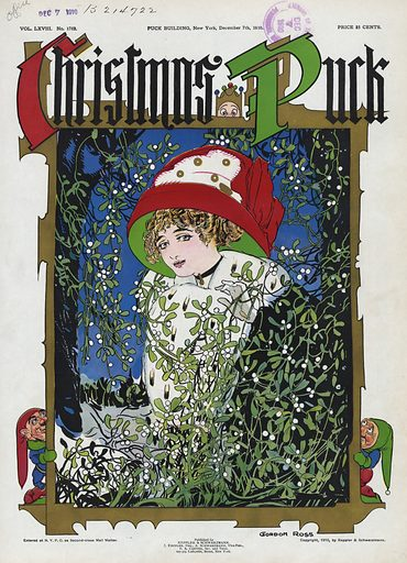 Christmas Puck. Illustration shows a beautiful young woman wearing a large red and green hat, standing among …