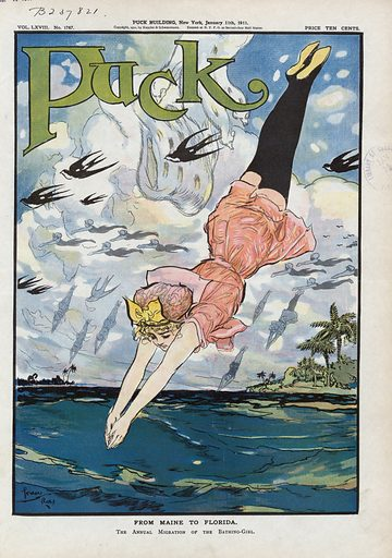 From Maine to Florida. Illustration shows a woman diving into the warm waters of Florida after shedding the furs and heavy clothing of winter. Also shows in the background girls flying like birds from cold climates to the tropical warmth of Florida. Date 1911 January 11.