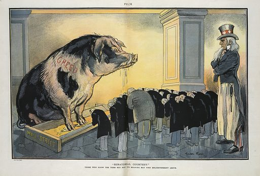 """Senatorial courtesy"". Illustration shows Uncle Sam standing behind a group of legislators and businessmen who are bowing before a large hog labeled ""Greed"" with its front feet in a trough labeled ""Wall Street"". Date 1911 April 19."