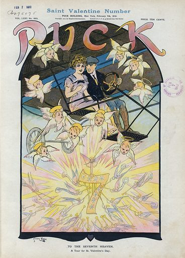"To the seventh heaven. Illustration shows a young man and a young woman riding in an airplane, the man has his arm around her waist; below them, angels trumpet a diamond-studded number ""7"". Date 1912 February 7."