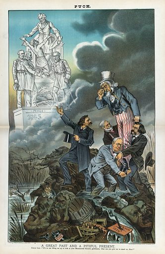 "A great past and a pitiful present. Illustration shows Whitelaw Reid, John Sherman, George F Hoar, and John Logan lifting Uncle Sam above a swamp filled with several faces of corruption labeled ""Blainism, Robesonism, Mahone Repudiation, Land Grab, Whiskey Ring, Rotten Ships, Pension Swindle, Fraud 1876, Star Routers, Salary Grab, Army Ring, and Sectional Issue"" with Reid gesturing toward a statue in the upper left that shows General Robert E Lee surrendering to General Ulysses S Grant and Admiral David G Farragut at the base of a statue showing Abraham Lincoln issuing the Emancipation Proclamation and a slave freed from bondage. Date 1885 October 28."