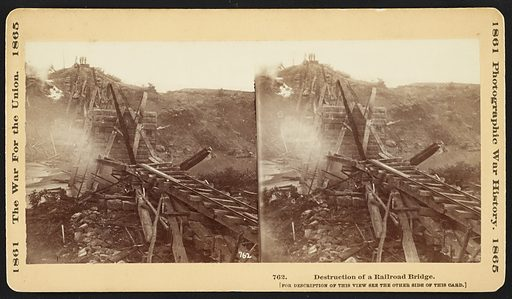 Destruction of a railroad bridge. Photo shows a smoldering railroad bridge on the North Ana River in Virginia. Confederate troops destroyed the bridge to slow down advancing Union soldiers. (Source: Zeller, p 73). Date photographed May 26, 1864, printed later.