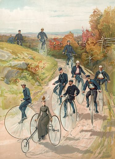 Bicycling. Woman, on three wheel bicycle, followed by men on high-wheelers