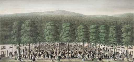 Interior view of West Branch camp meeting, Clinton Co, Pa. Date c1872.