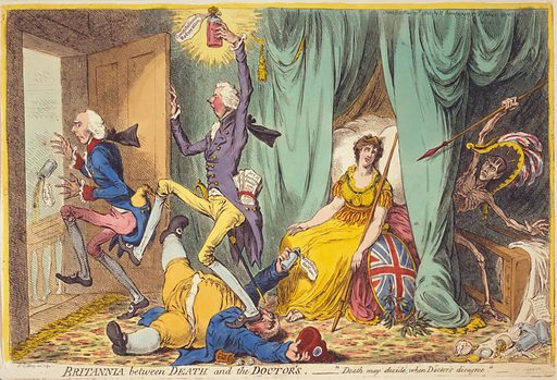 """Britannia between death and the doctor's A faint Britannia seated on bed with three """"doctors,"""" William Pitt kicking Henry Addington and stepping on Charles James Fox. The figure of death, with Napoleon's head, strides from behind bed curtains. Date 1804 May 20th."""