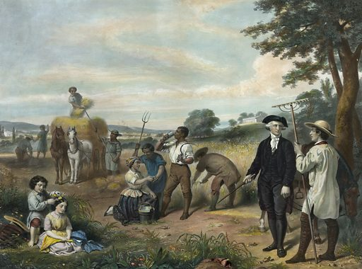 Life of George Washington – The farmer. Washington standing among African-American field workers harvesting grain; Mt Vernon in background. Date c1853.