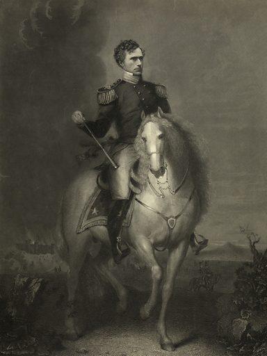 Gen. Franklin Pierce. Franklin Pierce in uniform, on horseback, in foreground; Mexican War battle scene, showing Chapultapec castle and Popocatépetl volcano, in background. Date c1852.