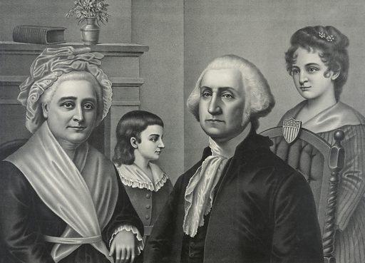 George Washington at Mt Vernon. George Washington seated, half-length, with Martha Washington, and two children. Date c1889.