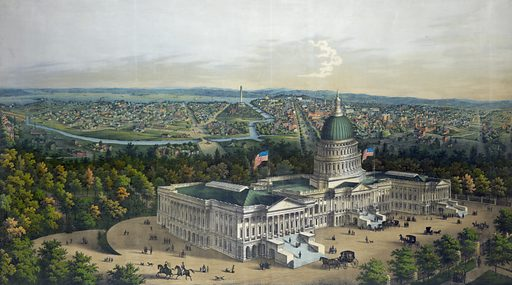 Panoramic view of Washington City from the new dome of the Capitol, looking west /. Bird