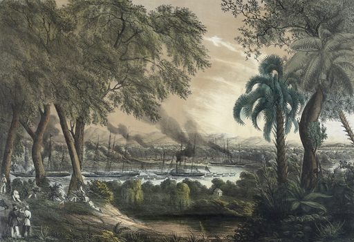 The naval expedition under Com..re Perry, assending sic the Tabasco River at the Devils Bend – June, 15th 1847. Date c1848.