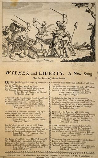 """Wilkes, and Liberty--A New Song. A broadside comprising an engraving printed above two columns of verse in letterpress. The former represents two groups; in one the Earl of Bute, armed with a dagger, tears away the robe of the fainting Britannia, and is about to stab her bare bosom; Earl Temple, armed with a sword, defends Britannia with that weapon, and thrusts forward a shield which is inscribed """"North Briton."""" W. Pitt, who is on his knees, receives the victim in his arms. The other group shows Wilkes, armed with a sword, and having a shield marked """"North Briton"""", joined with C. Churchill, who is dressed in his clerical robes, and carries a cudgel; they are driving away a party of Scottish clients of Lord Bute; one of Wilks's feet is placed on the neck of Tobias Smollett. Date 1763 or later."""