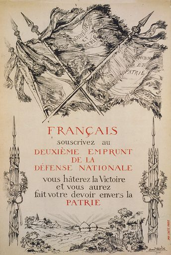Français, souscrivez au deuxiéme Emprunt de la Défense Nationale. Several flags with the motto 'Honneur et Patrie' Honor and Country on them. At the bottom is a small rural scene. Date 1916.