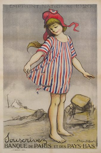 Emprunt National 1920. Souscrivez. Banque de Paris et des Pays-Bas. A little girl wearing a torn dress with red, blue, and white stripes, the colors of France, and a Phrygian cap, a symbol of the French Revolution. Date 1920.